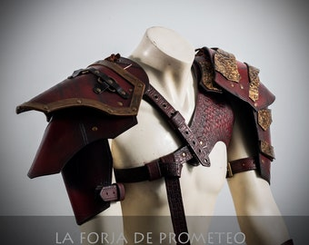 Leather Harness with 2 Shoulder Pads Arlek Red, Viking pauldrons,  leather shoulder pauldrons, leather pauldrons, larp viking pauldrons