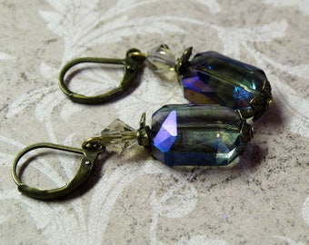 Faceted Holographic Crystal Earrings