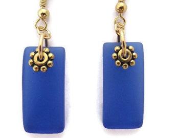 Glass Bead Earrings Amber Glass Filigree Ornate Bead Caps Bead Caps Intricate Amber Brass Cultured Sea Glass Sea Glass Earrings