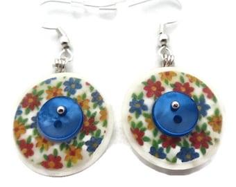 Flower Earrings, Button Earrings, Floral Earrings, Vintage Button Earring, Blue Dangle Earring, Recycled Earring, Button Jewelry
