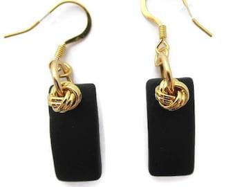 Recycled Glass Long Black Dangle Long Black Earring Black Beach Glass Earring Black and Gold Teardrop Earring Black Sea Glass Earring
