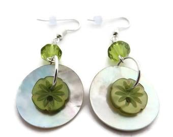Olive Green Earring, Beige Shell Earring, Green Dangle Earring, Shell Button Earring, Green Button Earring, Button Jewelry, Green Crystal