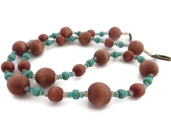 Wood Bead Necklace, Long Brown Necklace, Turquoise and Brown, Turquoise Beaded Necklace, Southwest Necklace, Rustic Brown Bead Necklace