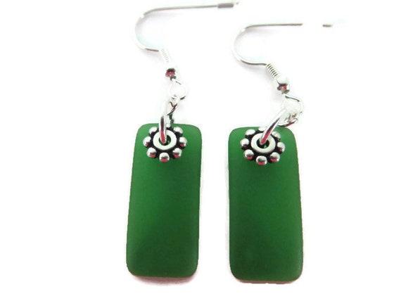 beach glass jewelry beach glass earrings sea glass earrings Kelly green sea glass sea glass jewelry Kelly green sea glass earrings