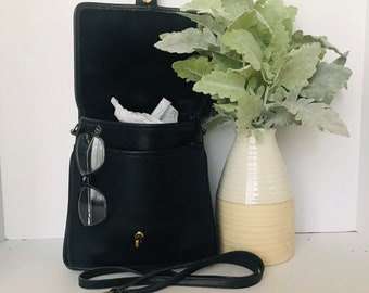 0ca90fe15d384 Vintage Coach Black Station Handbag, Coach Messenger Bag, Coach Crossbody  Bag, Made In USA 5130