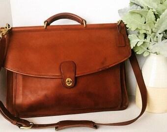 8df97027e6 Vintage Coach British Tan Briefcase, Coach Leather Briefcase, Coach  Messenger Bag, Men's Briefcase, Made In USA, #5266