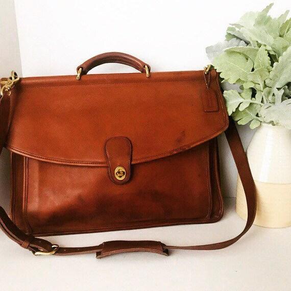Vintage Coach British Tan Briefcase Coach Leather Briefcase  7c83d7f11e23a