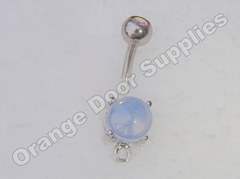Opalite Glass Belly Button Rings Silver 14 Gauge 10 Pcs