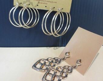 3 Pairs Of Silver Tone Pierced Earrings 2 Pairs Of Hoops