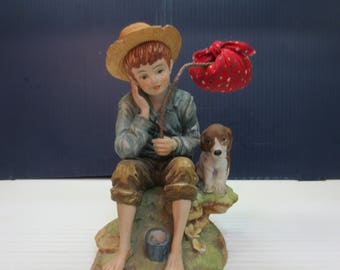 Vintage Lefton Boy Figurine Thinking About Running Away With His  Dog