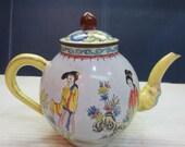 Chinese Oriental Girl Enamel Teapot Nian Zhi Qianlong Mark