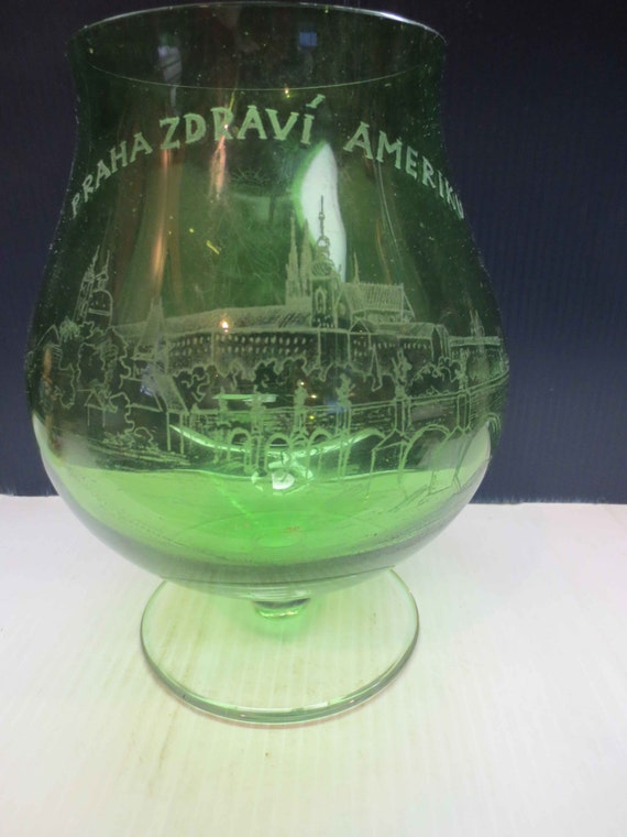 Large Green Glass Brandy Snifter Vase Etsy