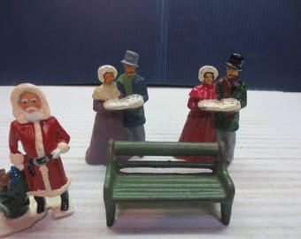Vintage Painted Lead Christmas Carolers With Santa And Park Bench