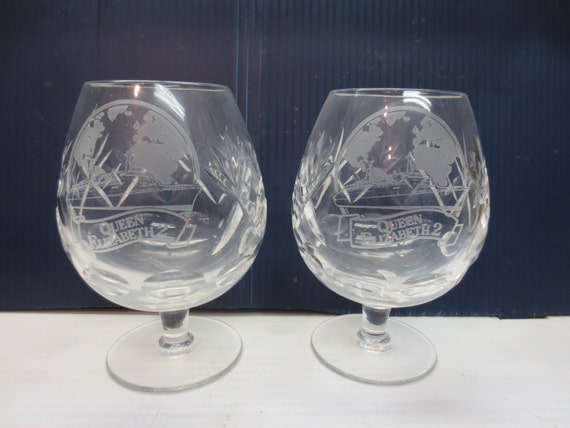 Set Of 2 Royal Doulton Crystal Brandy Snifters With Etched Etsy
