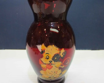 Vintage Ruby Red Cranberry Glass Vase With Cute Puppy