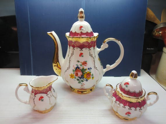 Beautiful Coffee Pot With Cream And Sugar By Imperial Japan Etsy