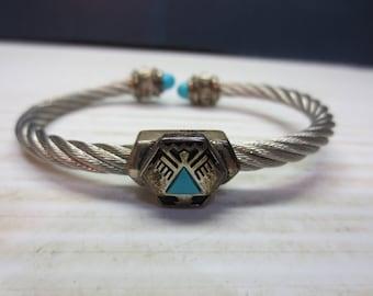 Vintage Franklin Mint Sterling Silver Native American Cable Cuff Bracelet