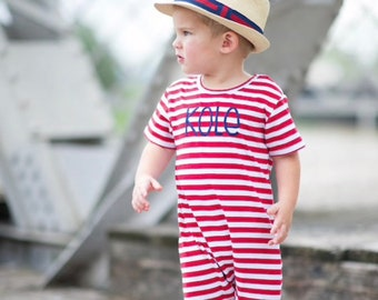 Newborn Boy Summer Outfit Toddler Boy Short Sleeve Clothing Out To Sea Baby Boy Beach Outfits TesaBabe Beach Pocket Romper Baby Romper