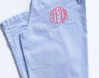 Monogrammed Seersucker Pajama Pants, Monogram Pajamas, Monogram Seersucker Pajama Pants, Monogram Pajama Pants, Monogram Pj, Pink Seersucker
