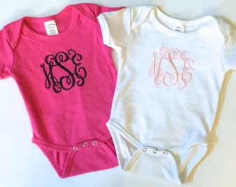 Monogram Baby Onesie, Monogram Onesie, Monogrammed Onesie, Monogrammed Baby Onesie, Girl Monogram Onesie, Baby Girl Onesie, Baby Onesie