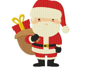 Merry Christmas - Jolly SANTA and his Sack of Gifts ~ Machine Embroidery Design in 2 sizes ~ Instant Download