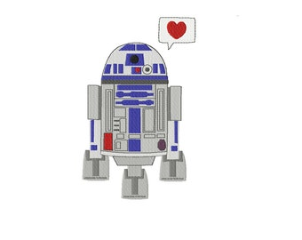 R2D2 in 2 Designs ~ With Heart and Without Heart ~ Star Wars ~ Filled Machine Embroidery Design in 4 sizes ~ Instant Download ~ R2-D2 C-3PO