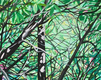 Shimmer - Archival Print, modern abstract landscape, forest painting
