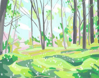 Dutchman's Breeches, abstract Forest, archival print, various sizes