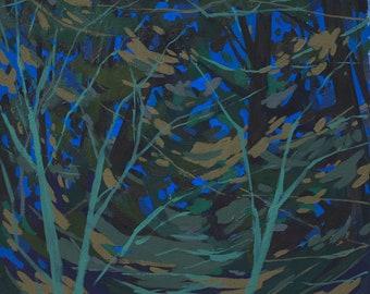Nocturne II - Archival Print, modern landscape, nature, tree print