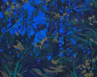 Nocturne I - Archival Print, modern landscape, nature, tree print