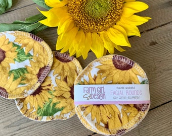 LIMITED EDITION Sunflower Floral Facial rounds   Makeup Remover   Facial Towel   Flannel Scrubby   Soft Scrubbies   Cotton Rounds   Makeup