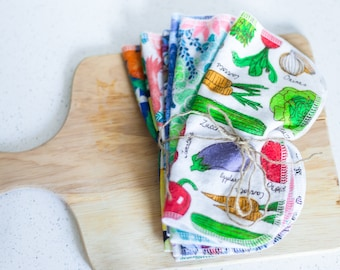 8 pack Reusable Napkins | Cloth Napkins | Family Cloth | Cloth Diaper Wipes | Baby Washcloths | Double Ply Wipes | Reusable Napkins