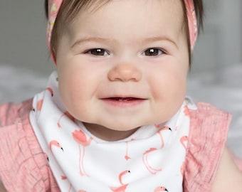 Flamingo Bibdana | Flamingo Baby Bib | Flamingo Bandana Bib | Baby Girl Bib | Girl Bibdana | Girl Bandana Bib | Drool Bib | Teething Bib