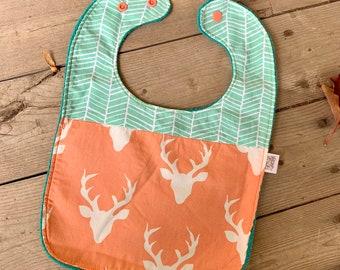 Peach Stag Deer Baby Bib   Baby Girl Bib   Feeding Bib   Toddler Bib   Large Baby Bib   Handmade Baby Bib   Stylish Baby Bib   Trending Baby