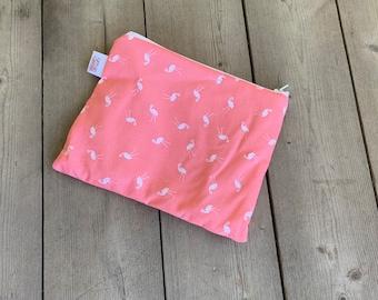 Flamingo Reusable Snack Bags | Reusable Lunch Bag | Reusable Sandwich Bag | Zippered Bag | Zipper Pouch