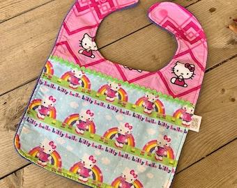 Kitty Baby Bib   Baby Girl Bib   Feeding Bib   Toddler Bib   Large Baby Bib   Handmade Baby Bib   Stylish Baby Bib   Trending Baby