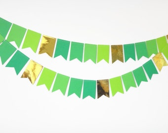Pennant Garland, Bunting, Pennant Paper Garland, Pot of Gold, Lucky Decoration, Party Decoration, St Patricks, Luck of the Irish 8 ft