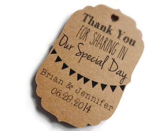 Personalized Wedding Thank You Tags--Set of 100--Wedding Favor Tags, Custom Thank You Tags, Custom Wedding Thank You Tags