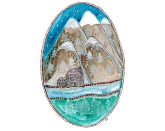 Original Oval Landscape, Snow capped mountains, Snowy Hills Art, Mountain Landscape, Alpine, Frozen River, House, Log Cabin, Stars, Trees,