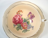 Vintage Paragon Tea cup and Saucer, Double Warrant Beige tea cup with flowers, Wide Mouth tea cup and saucer.