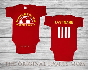 Personalized Manchester United Futbol Soccer Jersey-Style Baby One  Piece Bib. Soccer Futbol Sports . Great Babyshower Gift! b25e4d1e5
