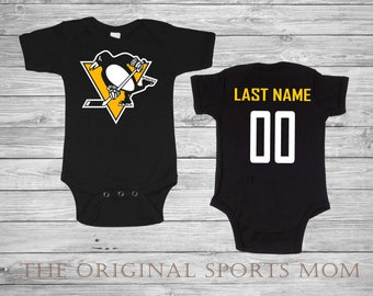 e6af8afb Personalized PITTSBURGH PENGUINS Baby One Piece/Bib! HOCKEY One Piece.  Perfect as a Babyshower Gift and your little one's first photoshoot!