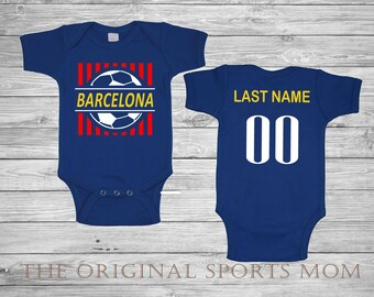 Personalized Barcelona Spain Futbol Soccer Jersey-Style Baby One Piece Bib.  Soccer Futbol Sports Barcelona Spain. Great Babyshower Gift! 6e095ce7c