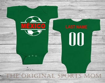 246478737 Personalized Equipo de Mexico Futbol Soccer Jersey-Style Baby One Piece Bib.  Soccer Futbol Sports . Great Babyshower Gift!