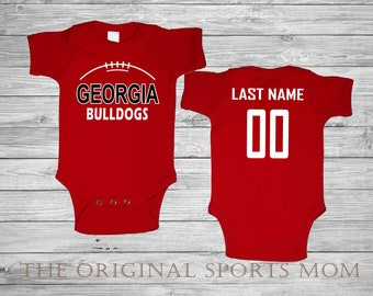 Personalized Georgia Bulldogs Jersey Style Baby One Piece Bib. Football Sports.  Perfect as a Babyshower Gift! bd81d88be