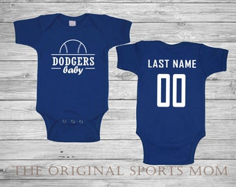 8f4cc33f43b Personalized Los Angeles Jersey-Style Baby One Piece Bib! New York Baseball  Dodgers. Perfect as a Babyshower Gift!