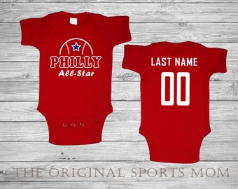 6f2372ee7274 Personalized Philadelphia Jersey-Style Baby One Piece Bib! Phillies Baseball Philadelphia.  Perfect as a Babyshower Gift!
