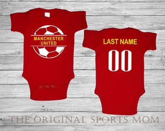 78d5eac5751 Personalized Manchester United Futbol/Soccer Jersey-Style Baby One  Piece/Bib. Soccer/Futbol/Sports/. Great Babyshower Gift!