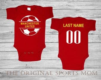 5cb2951bbbc4c Personalized Manchester United Futbol/Soccer Jersey-Style Baby One  Piece/Bib. Soccer/Futbol/Sports/. Great Babyshower Gift!