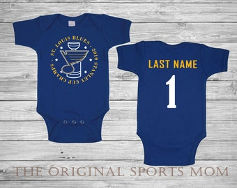 cf3733bf0 Personalized St LOUIS BLUES Baby One Piece/Bib! HOCKEY One Piece. Perfect  as a Babyshower Gift and your little one's first photoshoot!
